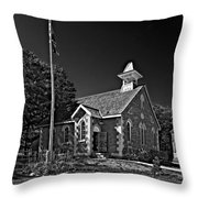 Country Church Monochrome Throw Pillow