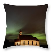 Country Church Night Photography Throw Pillow