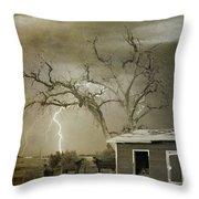 Country Horses Lightning Storm Ne Boulder Co 66v Bw Art Throw Pillow