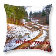 Country Lane Holiday Card Throw Pillow