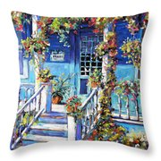Country Porch And Flowers By Prankearts Throw Pillow