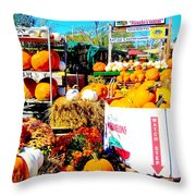 Country Road Farm Stand Throw Pillow by Susan Carella