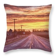 Country Road Sunrise Throw Pillow