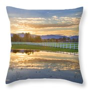 Country Sunset Reflection Throw Pillow