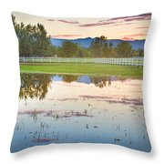 Country Sunset Reflections Throw Pillow