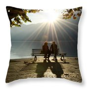 Couple On A Bench Throw Pillow