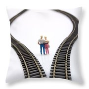 Couple Two Figurines Between Two Tracks Leading Into Different Directions Symbolic Image For Making Decisions Throw Pillow