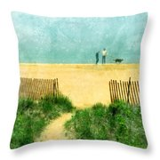 Couple Walking Dog On Beach Throw Pillow by Jill Battaglia