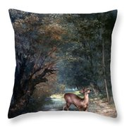 Courbet: Hunted Deer, 1866 Throw Pillow