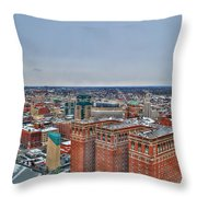 Courthouse And Statler Towers Winter Throw Pillow