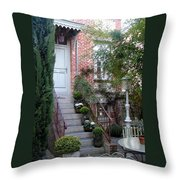 Courtyard In Honfleur Throw Pillow