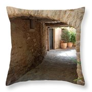 Courtyard In The Village Throw Pillow