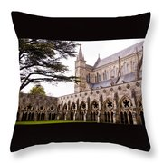 Courtyard Salisbury Cathedral - England Throw Pillow