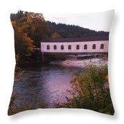Covered Bridge At Dawn No. 2 Throw Pillow