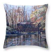 Covered Bridge At Lake Roaming Rock Throw Pillow