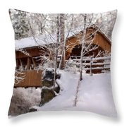 Covered Bridge At Olmsted Falls - 2 Throw Pillow