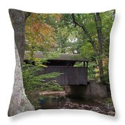 Covered Bridge By The Cottage  Throw Pillow
