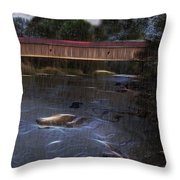Covered Bridge In The Rain Throw Pillow