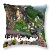 Covered Stairway To The Pindaya Caves Throw Pillow
