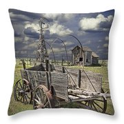 Covered Wagon And Farm In 1880 Town Throw Pillow