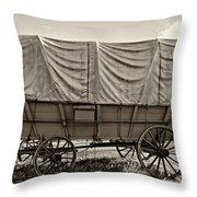Covered Wagon Sepia Throw Pillow