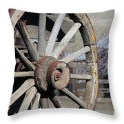 Covered Wagon Wheel Throw Pillow