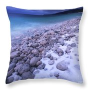 Covered With Snow Pebbled Shore Of Georgian Bay Throw Pillow