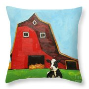Cow And Barn 4 Throw Pillow
