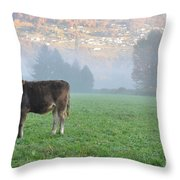 Cow On The Foggy Field Throw Pillow