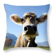 Cow With A Bell Throw Pillow