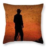 Cowboy At Sunset Throw Pillow