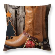 Cowboy Boots And Christmas Ornaments Throw Pillow