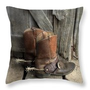 Cowboy Boots With Spurs Throw Pillow