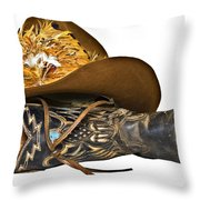 Cowboy Hat And Boot Throw Pillow