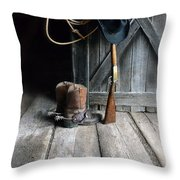 Cowboy Hat Boots Lasso And Rifle Throw Pillow