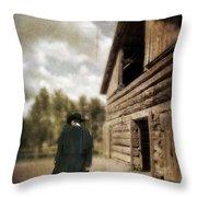 Cowboy Walking By Barn Throw Pillow