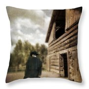 Cowboy Walking By Barn Throw Pillow