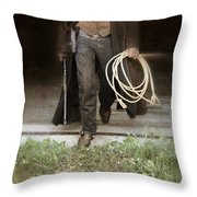Cowboy With Guns And Rope Throw Pillow