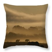 Cows Are Silhouetted In A Field Throw Pillow