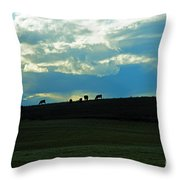 Cows On The Hill Throw Pillow