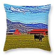 Cows Pasture Barns Superspecialeffect Throw Pillow