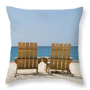 Cozumel Mexico Poster Design Beach Chairs And Blue Skies Throw Pillow