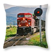 Cp Coal Train And Signal Throw Pillow