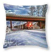 Cp Rail Coal Train Under Bridge Hdr Throw Pillow