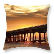 Crab Island Bridge Throw Pillow
