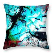 Cracked Blue Mud Throw Pillow