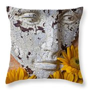 Cracked Face And Sunflowers Throw Pillow