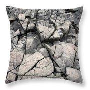 Cracked Rocks On Shore Throw Pillow