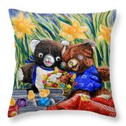 Cracky Bear And Little Boy Bear  So Happy Together Throw Pillow