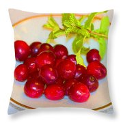 Cranberries And Mint Throw Pillow